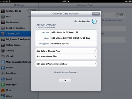 iPad Cellular Data Account
