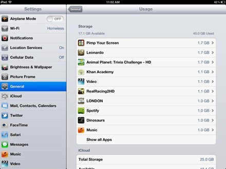 iPad Usage Page after