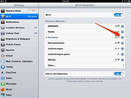 iPad WiFI Settings