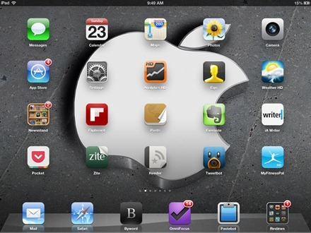 3D Slanty Apple Logo iPad home screen