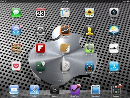 3D Slanty Shiny Apple Logo iPad Home Screen