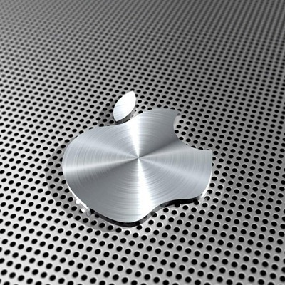 3D Slanty Shiny Apple logo iPad wallpaper