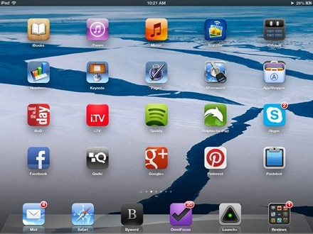 Blue and White iPad home screen