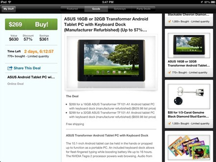 Groupon HD iPad app
