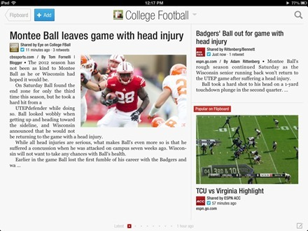 Flipboard College Football section