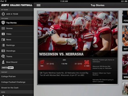 ESPN College Football iPad app