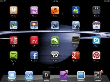 Saturn Blue iPad home screen
