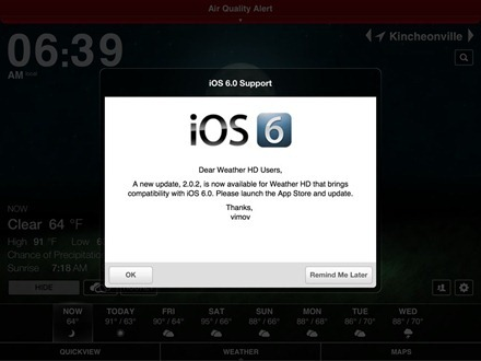 iPad apps iOS 6 update