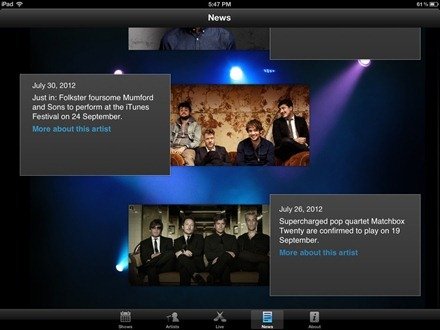 iTunes Festival London 2012 iPad app