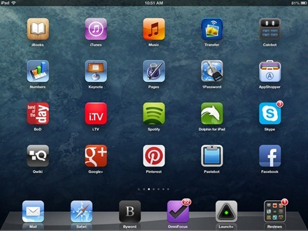 Crumpled Blue iPad home screen