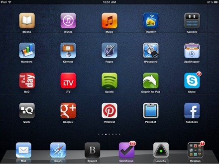 Dark Tiles iPad home screen