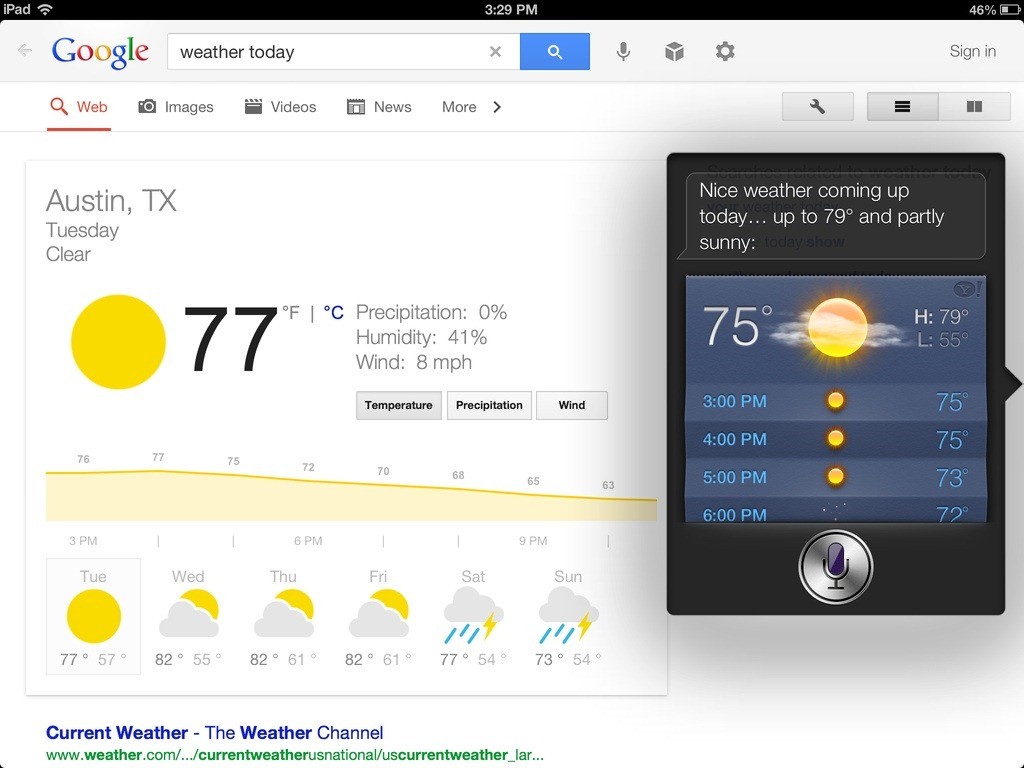 Google Search iPad App Adds Voice Recognition: Some Head-to-Head