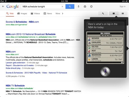 Google Search vs Siri on the iPad