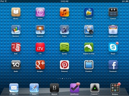 Lego Blue iPad home screen