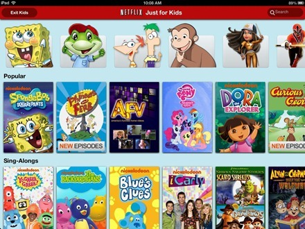 Netflix for iPad Just for Kids section