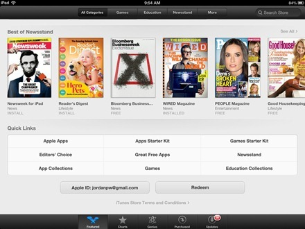 iPad App Store Best of Newsstand