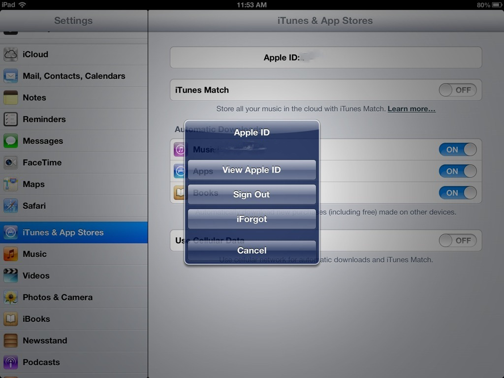 How to sign out of itunes store on ipad