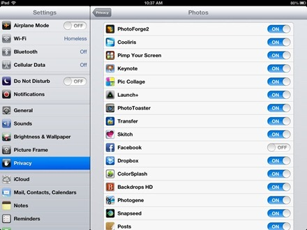 iPad Privacy Facebook Photos Settings