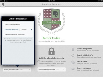 Evernote iPad Premium