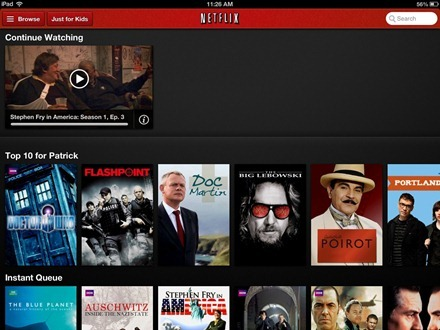 Netflix iPad main screen