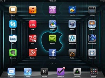 3D Blue Apple iPad home screen