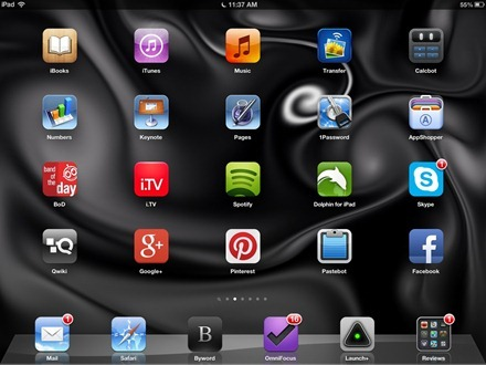 Black and White Fluid iPad home screen