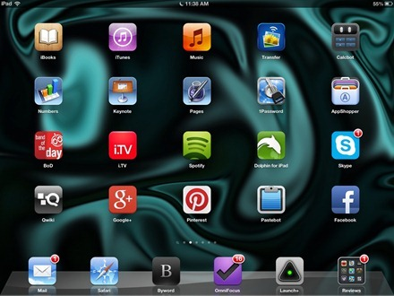 Cyan and Black iPad home screen