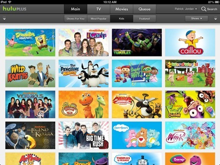 Hulu Plus iPad Kids section