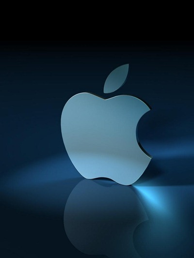 Slanted Blue 3D Apple