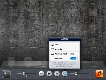 iPad Turn AirPlay Mirroring On