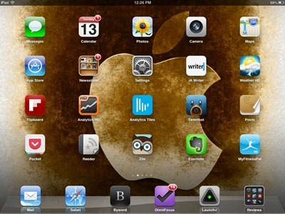 3D Sepia Apple Logo iPad home screen
