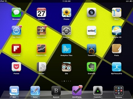 Black Blue and Yellow iPad home screen