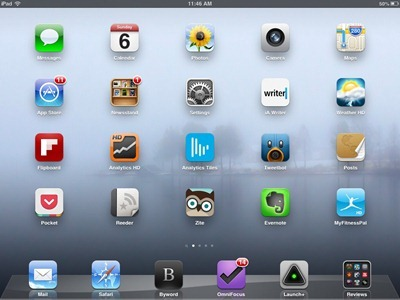 Blue Fog iPad home screen
