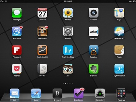 Deep Greys iPad home screen