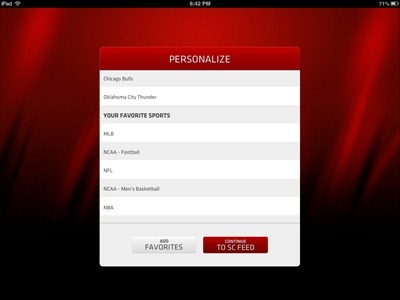ESPN SportsCenter Feed iPad app