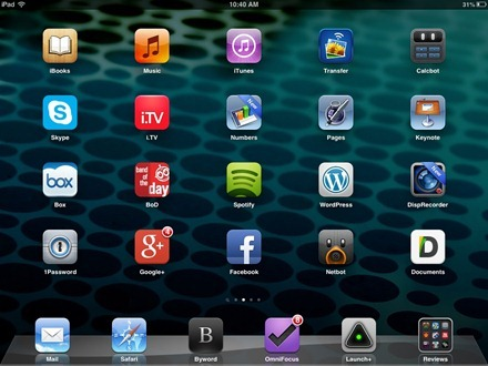 Perforation iPad home screen