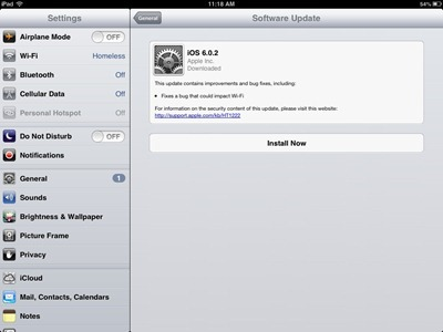 Software Update on iPad