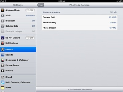 iPad Photos and Camera Storage