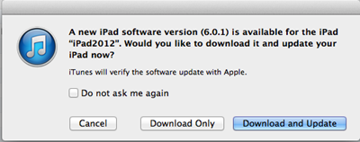 iTunes New Software Update