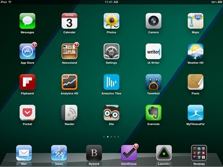 Blue Green Sections iPad home screen