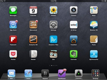 Dark Simple grungy iPad home screen