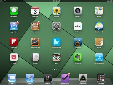 Green Shapes iPad home screen