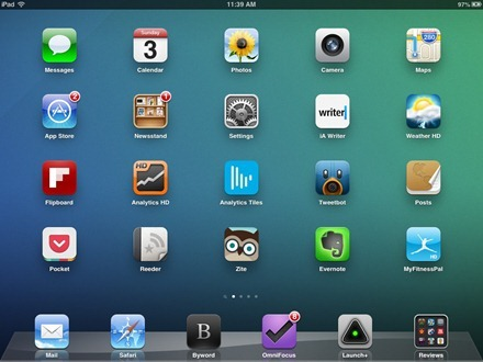 Subtle Blue Green iPad home screen