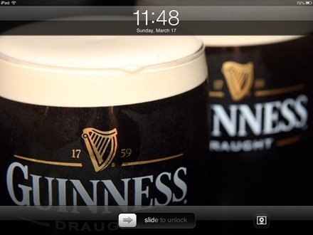 Guinness iPad lock screen
