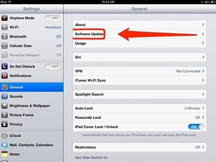 iPad Settings Software Update