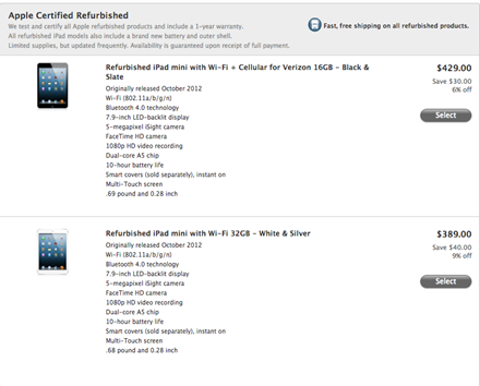iPad mini Refurbished Models