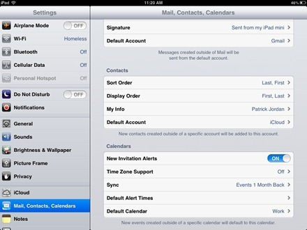 Contacts Default Account