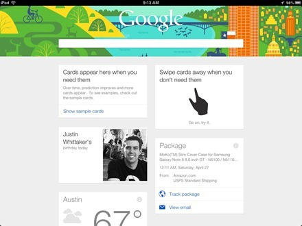 Google Now iPad app
