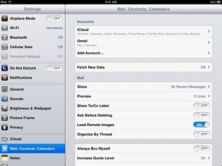 Settings Mail Contacts Calendars