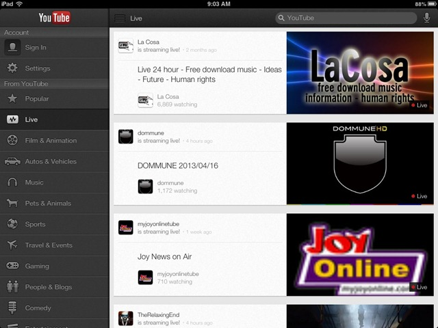 YouTube iPad App Updated – Adds Access to Live Streams